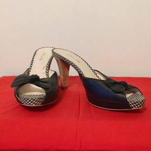 """Black Leather 4"""" Heel Mules with Bow"""